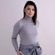 Elegáns női garbónyakú pulóver szürke színben 10360