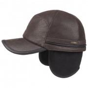Stetson Byers Cap in Pelle by Stetson in marrone scuro, Gr. M (56-57 cm)
