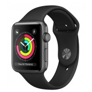 Watch, Apple Series 3 GPS, 38mm Space Grey Aluminium Case with Black Sport Band (MTF02BS/A)