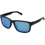 Under Armour UA Assist Square Sunglasses, UA Assist Satin Black / Black Frame / Gray / Blue Multiflection Lens, M/L