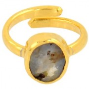 2.25 Ratti Neelam Rashi Gemstone Adjustable Panchdhatu Ring