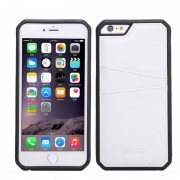 Силиконов гръб с кожа за Apple iPhone 6 / 6S Бял