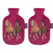 Fashy 2x Fuchsia roze kruiken 0,8 liter met paard/pony dieren hoes 0,8 liter