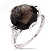 Luxusní prsten s diamanty, záhněda, kolekce Magic, bílé zlato