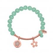 CO88 Armband met bedels bar/bloem/open bloem rosé/mintgroen 8CB-50003