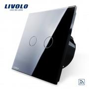 Intrerupator dublu wireless cu touch Livolo din sticla, negru