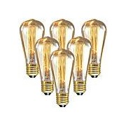 6pcs 60 W E26 / E27 ST64 Blanc Chaud 2200-2300 k Rétro / Intensité Réglable / Décorative Ampoule incandescente Edison Vintage 220-240 V