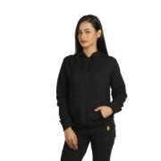 Campus Sutra Women's Black Hooded Sweatshirt (Design 24)