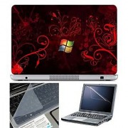 FineArts Laptop Skin Windows Orange Wallpaper With Screen Guard and Key Protector - Size 15.6 inch