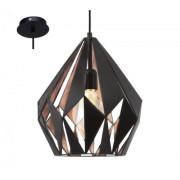 LED lámpa függeszték , mennyezeti , E27 , acél , fekete , vörösréz , EGLO , CARLTON 1 , 49254