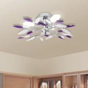 vidaXL Ceiling Lamp White & Purple Acrylic Crystal Leaf Arms 3 E14 Bulbs