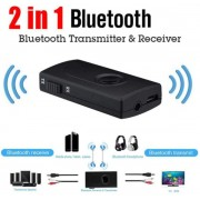 2-in-1 Bluetooth Audio Transmitter or Receiver 3.5mm Wireless Audio Adapter Built-in Rechargeable battery