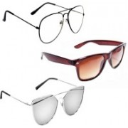 Sulit Aviator, Wayfarer, Cat-eye Sunglasses(Clear, Brown, Silver)