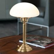 Berliner Messinglampen Pilzlampe / Schreibtischlampe / Tischlampe, Antik-Finish, Schirm Opalglas Weiß