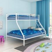 vidaXL Детско двуетажно легло, 200x140 / 200x90 см, метално, бяло