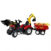 Tractor Powerloader Rosu cu Cupa Functionala Excavator Remorca Grebla si Lopata