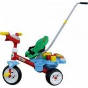 Tricicleta Baby Trike cu maner si set de cuburi Polesie