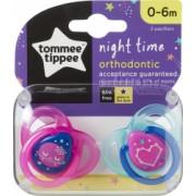 Set Suzete Ortodontice de Noapte Tommee Tippee 0 - 6 Luni 2 buc Roz / Bleu