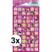 Disney 3x Disney prinsessen stickervel van 66 stickers