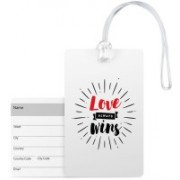 100yellow Luggage Tags- Love Always Wins Print High Quality Pvc Tag With Silicon Strap- Ideal For Gift Luggage Tag(Multicolor)