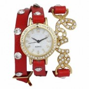 Vintage Round Dial Red Leather Analog Watch For Women