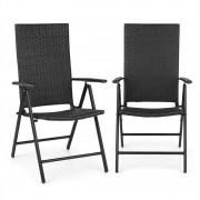 Blumfeldt Estoril, kerti szék, polyrattan, alumínium, 7 fokozat, összecsukható, fekete (GDMB8-Estoril-1)
