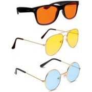 Elligator Wayfarer, Round, Aviator Sunglasses(Orange, Yellow, Blue)
