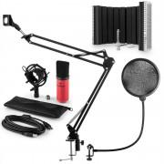 Auna MIC-900RD USB, микрофонен комплект V5, кондензаторен микрофон, pop filter, стойка за микрофон, параван, червен цвят (60001970-V5)