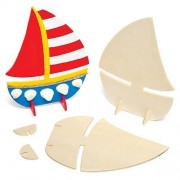 Baker Ross Stand-Up Wooden Boats (Pack of 6)