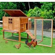 PawHut Galinheiro Exterior Madeira Integrado Run Limpeza Tabuleiro Casa para Galinhas Gaiola para Pequenos Animais Frango 168x110,5x101,5 cm