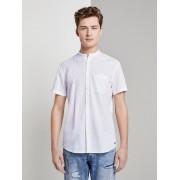 TOM TAILOR DENIM Linnen blend overhemd met Mao kraag, Heren, White, L
