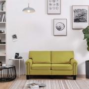 vidaXL 2-местен диван, зелен, текстил
