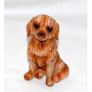 "Mini Wood Look Pups New 3.5"" Miniature Adorable Golden Retriever / Labrador Lab Puppy Dog Carved Wood Look Statue Figure"