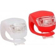 LED fietsverlichting set voor en achter - rood/wit - siliconen fietslampjes inclusief batterijen - voorlicht en achterlicht