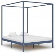 vidaXL Рамка за легло с балдахин, сива, бор масив, 160х200 см
