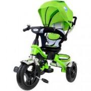 Tricicleta pentru copii cu scaun rotativ copertina cos maner parental suport picioare pliabil culoare verde