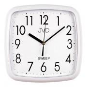 Bílé hranaté plastové nástěnné netikající tiché hodiny JVD sweep HP615.5