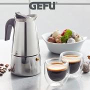Комплект GEFU EMILIO от стоманена кафеварка за 4 бр. кафета и 2 бр. двустенни чаши за еспресо