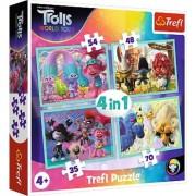 Puzzle Trefl 4 in 1, Trolls World Tour, 35/48/54/70 piese