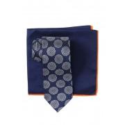 Ted Baker London Silk Melange Medallion Tie Pocket Square Set NAVY