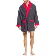 Hom Стильный мужской укороченный халат серого цвета с красным оформлением HOM Lecture 04048cZ9