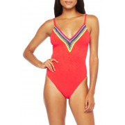 Trina Turk Stripe Trim Zebra One-Piece Swimsuit POP
