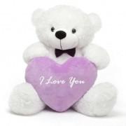 3 feet big white teddy bear with purple I Love You Heart