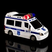 Musical 3D High speed Lightning Electric Police van Toy for Kids, Bump & go action
