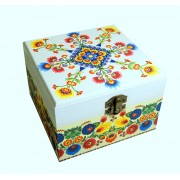 Cutie lemn decorata motiv traditional - folk - 7522