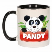 Bellatio Decorations Pandabeer theebeker zwart / wit Pandy 300 ml