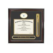 Signature Announcements Marco de Diploma de graduación con Nombre y Borla de la Universidad de St. Mary's, 20 x 20 Pulgadas, Color Dorado Brillante Caoba