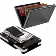 Stealodeal Metal Wallet Money Clip With Full Black Limited Edition 15 Card Holder(Set of 2, Black)