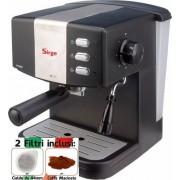 Sirge Macchina per Caffe Espresso per 1(cialda ESE44) o 2 tazze(caffe macinato) e Cappuccino caffe in polvere Gran Bar 15bar FILTRO