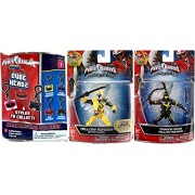 "Yellow Power Rangers Figures 2-Pack Saban's Ninja Steel Edition 5"" with Battle Gear Yellow Ranger with Sword & Training Mode Action Hero Figure + Bonus Blind Bag Backpack Clip On Hanger & Accessory"
